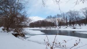中ノ島公園の横を流れる常呂川